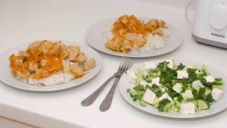 Ужин за 30 минут. Рис с тушеным индюшиным филе. Легкий салат.