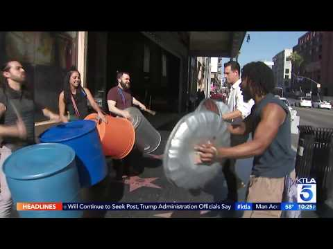"Preview of ""Stomp"" at the Pantages theatre"