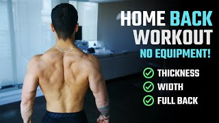How To Build A Big Back At Home (NO WEIGHTS & NO PULL-UP BAR)