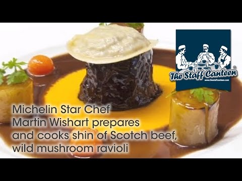 Michelin star chef Martin Wishart prepares and cooks shin of Scotch Beef, wild mushroom ravioli.