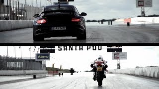 Porsche GT2 RS v. Ducati 1199 Panigale: The Drag Race. - /CHRIS HARRIS ON CARS(Monster bike versus monstrous car. The bike has 192hp, the car 620. The venue was Santa Pod drag strip., 2012-07-25T18:48:02.000Z)