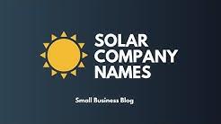 Creative Solar Company Names