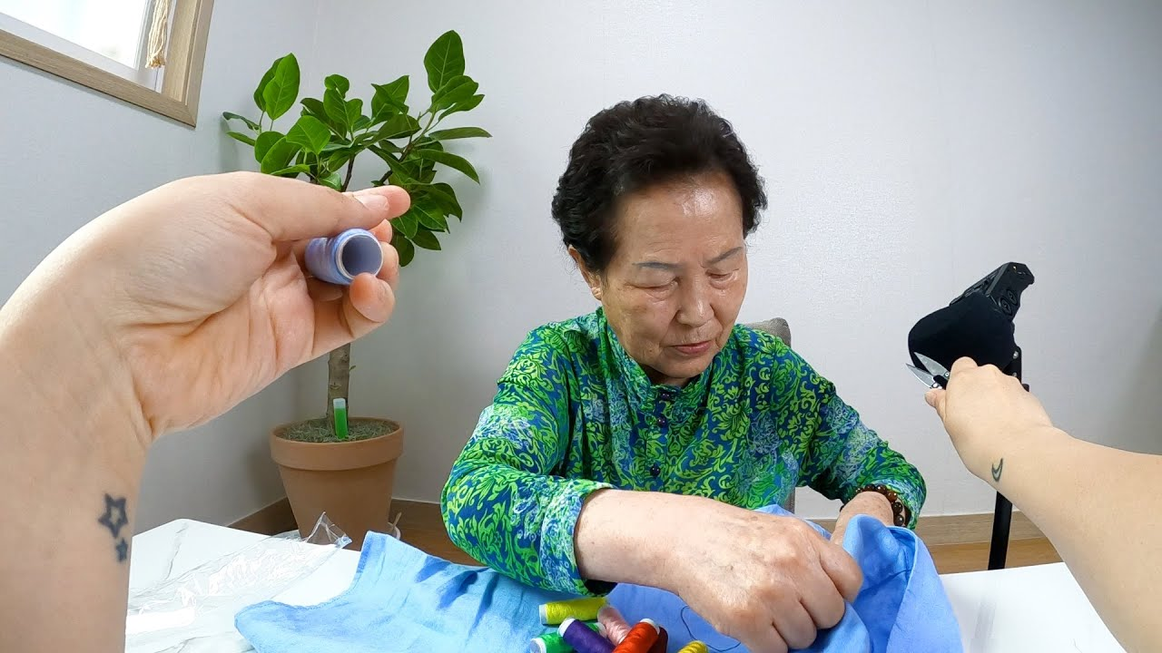Grandma OK sewing my shirt and Me trying to make ASMR out of it (Failed)