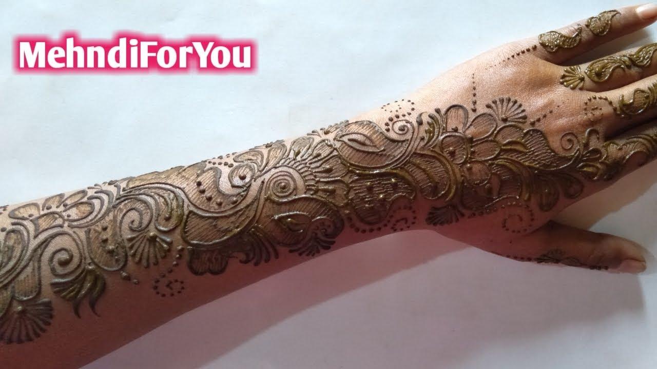 Shaded Arabic Mehndi Design Full Hand Arabic Heena Design Back Hand Mehndi Design