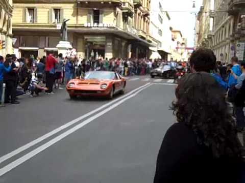 Lamborghini 50 th bologna cars leaving for the factory