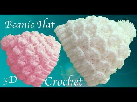 Gorro a Crochet  punto de flores media luna en 3D tejido tallermanualperu