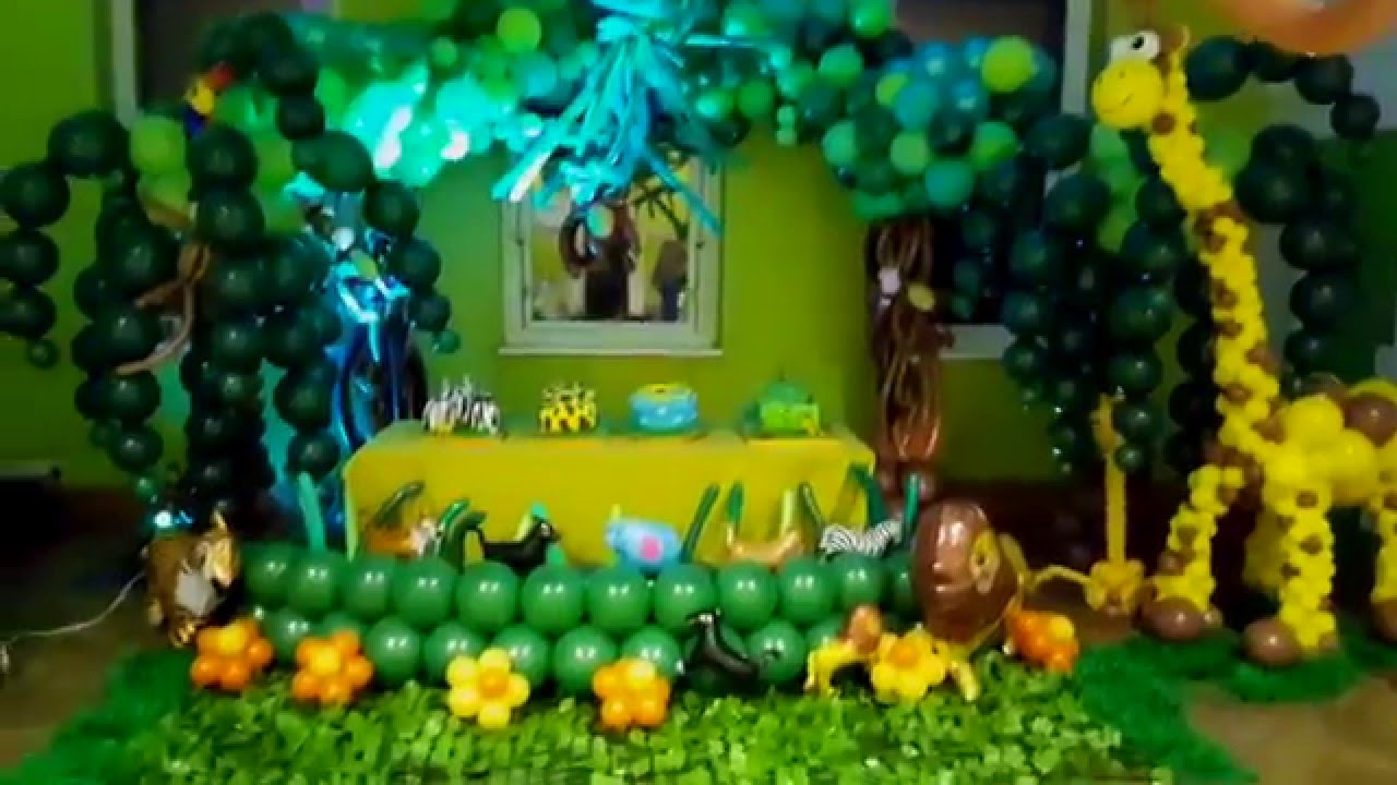 Balloon ideas jungle themed decoration youtube for Balloon decoration ideas youtube
