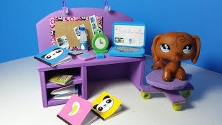 DIY LPS Doll Computer Desk PLUS Accessories (Alarm Clock, Notebooks, Calculators)