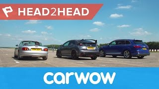 Audi SQ7 2017 SUV vs Honda Civic Type R vs tuned Mazda MX-5 drag race & review| Head2Head