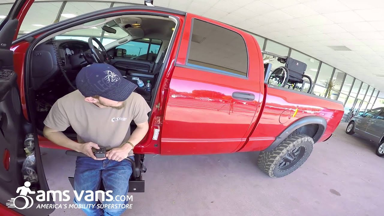 Wheelchair Lift For Truck Hand Chairs Stow Away Seat Ams Vans Youtube