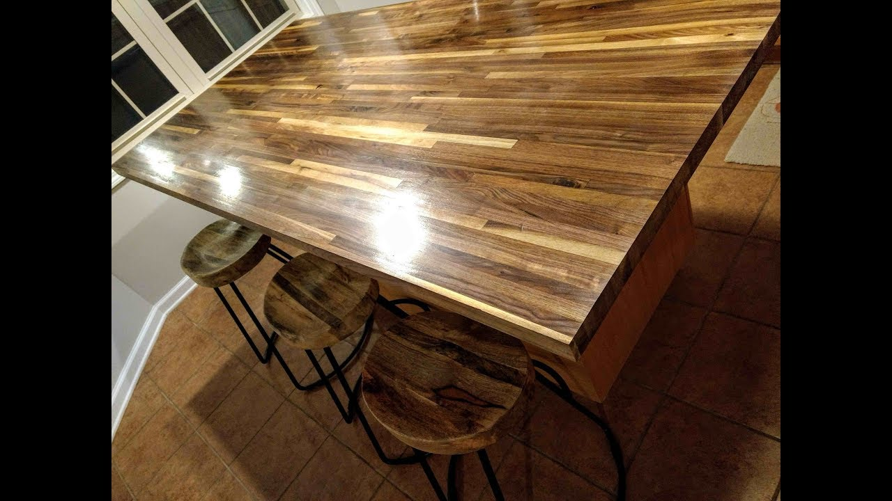 Walnut Butcher Block Counter Tung Oil Finish