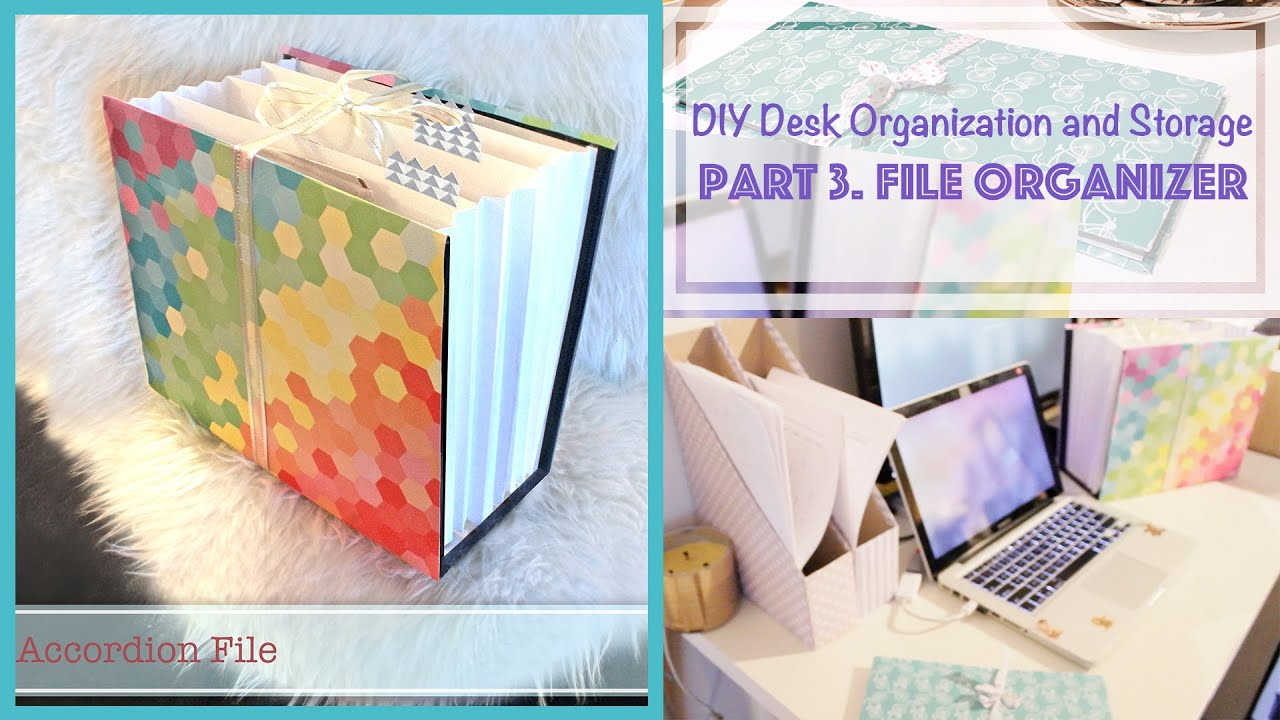 diy file organizer from recycled box desk organization and storage