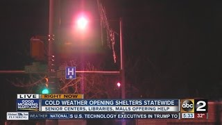 Shelters opening due to cold weather blast
