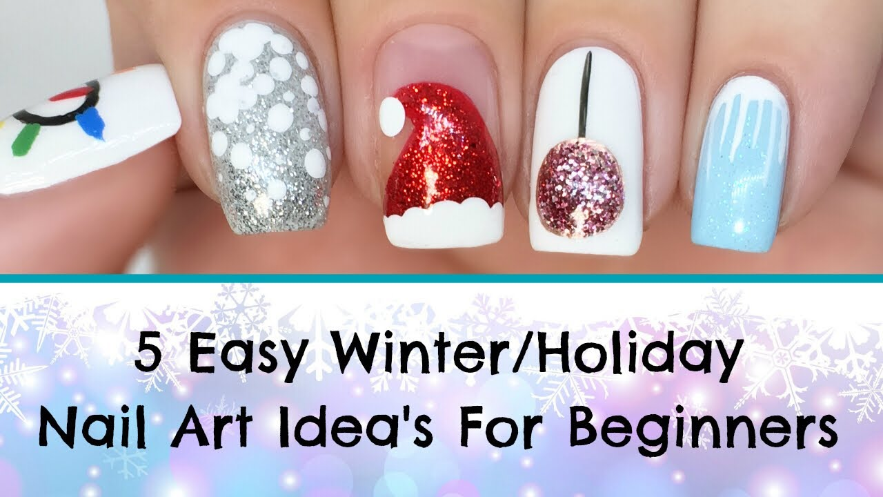 How To 5 Easy Diy Winter And Holiday Nail Art Ideas For Beginners