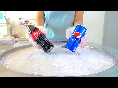 Coke coca-cola w/ PEPSI soft drink Ice cream VS Yogurt strawberry Ice cream rolls challenge