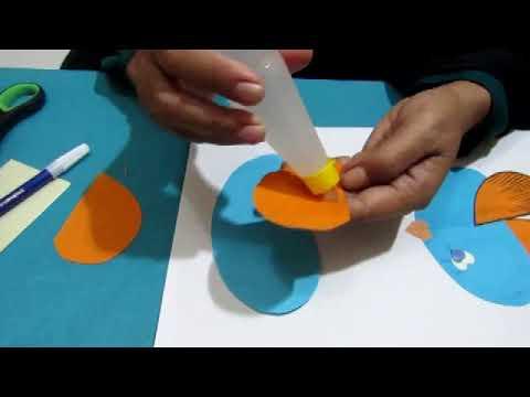 Seni Kreativitas Menempel Kertas Bentuk Ikan Gemuk Keren