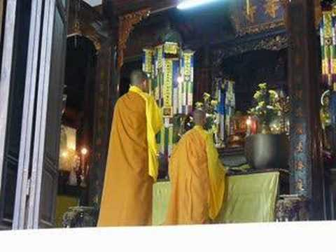 Vietnamese Monks Praying in Hue, Vietnam