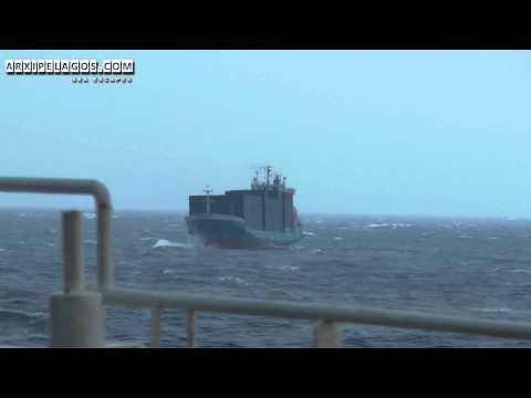 Ship on the waves of Adriatic Sea ( Wild Sea )