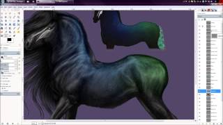 SpeedPaint: Black Peacock Horse Thumbnail