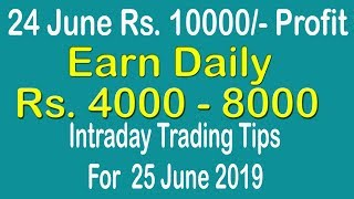 Intraday Trading Tips for 25 June 2019   intraday trading strategies   Free Intraday Tips