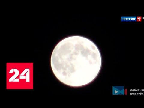 Над столицей взошла огромная розовая Луна - Россия 24