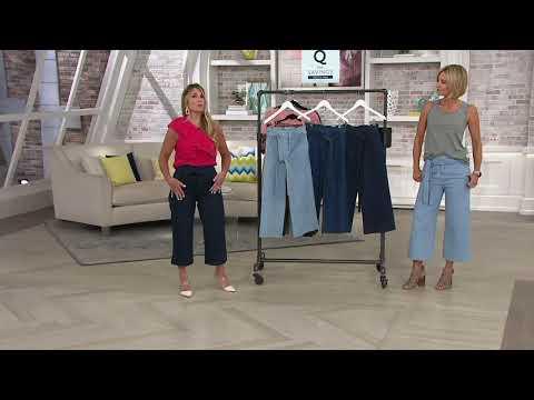 Du Jour Paper Bag Waist Denim Culotte Crop Pants on QVC