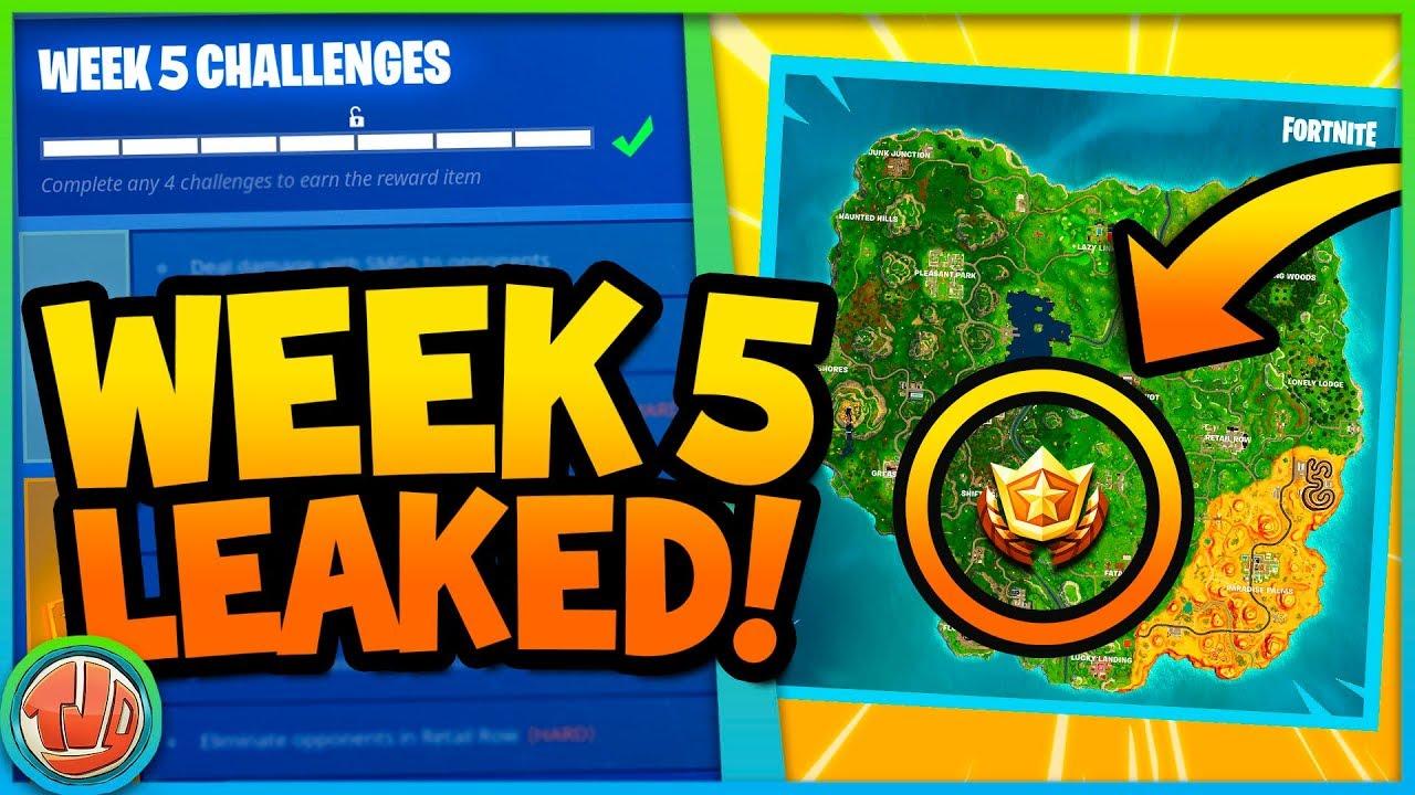 Leaked Week 5 Challenges Gratis Battle Star Fortnite Battle