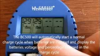 la crosse bc 500 aa aaa battery charger overview review tutorial