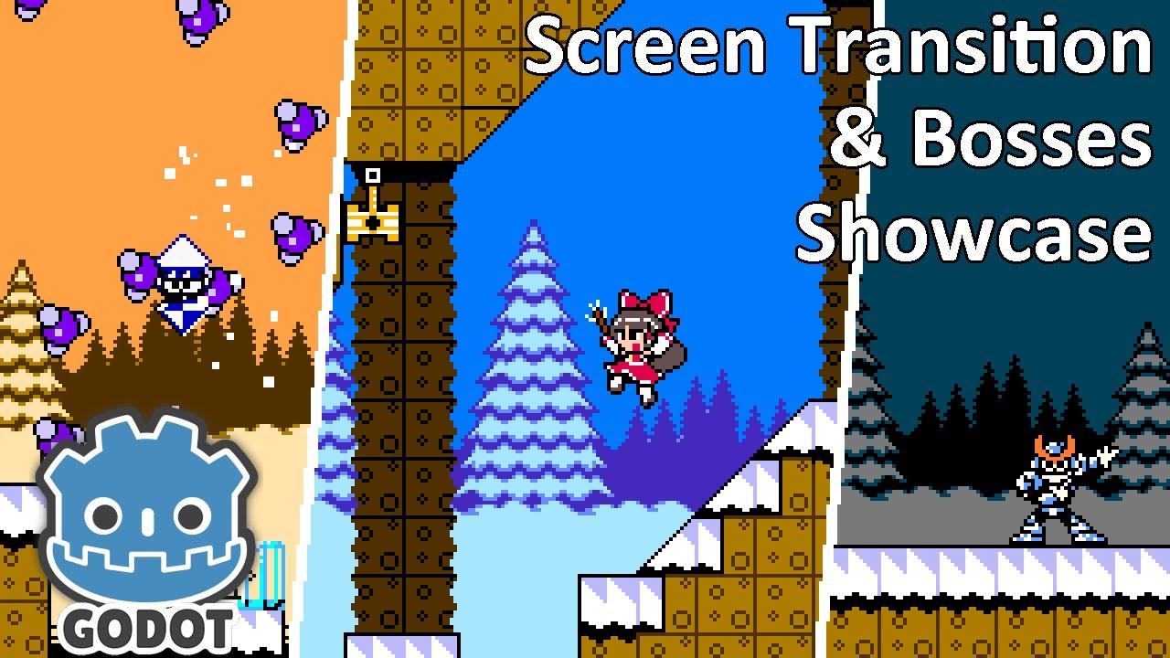 Godot Mega Man Engine Showcase – Screen Transition, Boss, and Behind the Scene