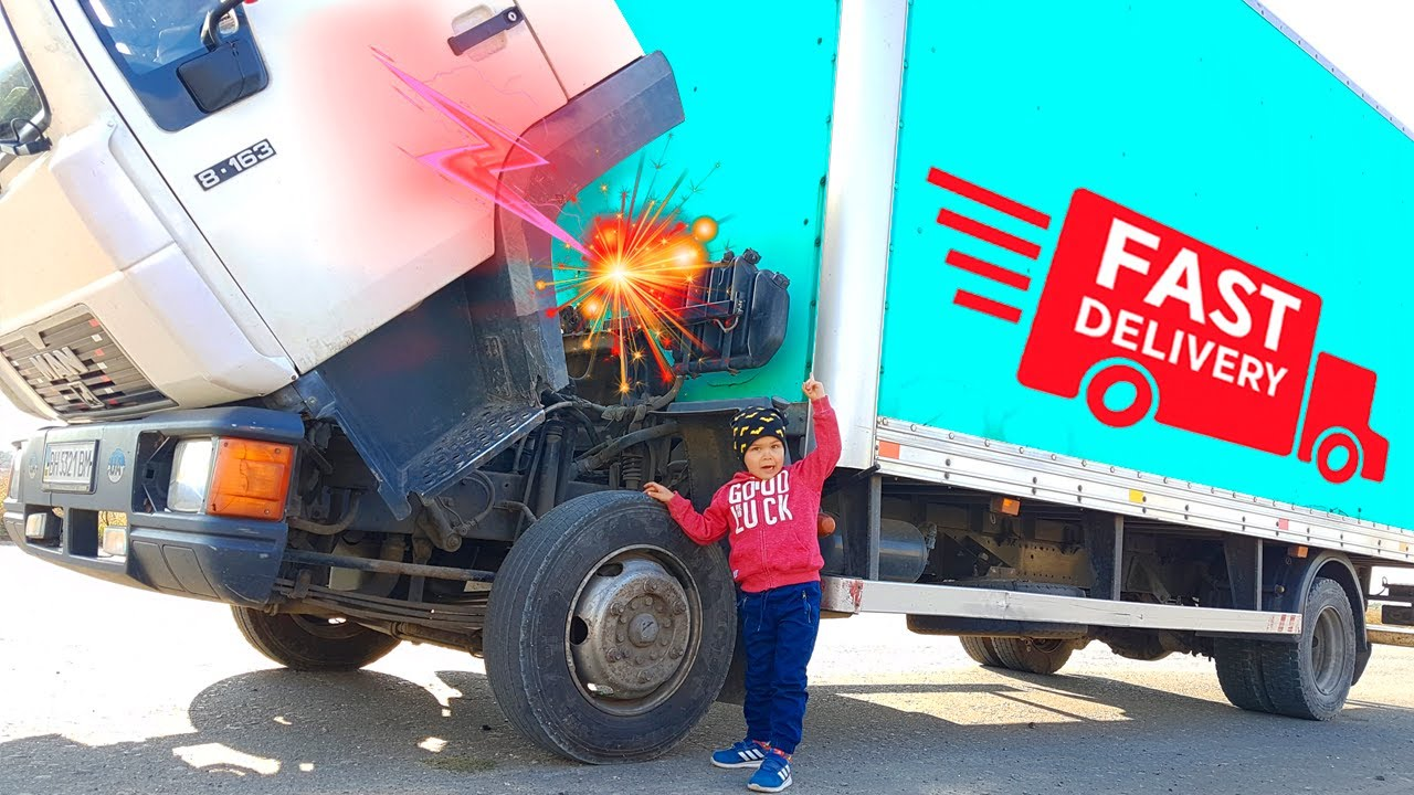 The Truck is broken down again - Dima on power wheels tractor repair the truck