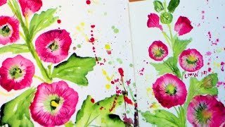 Easy Hollyhock Watercolor Painting Tutorial