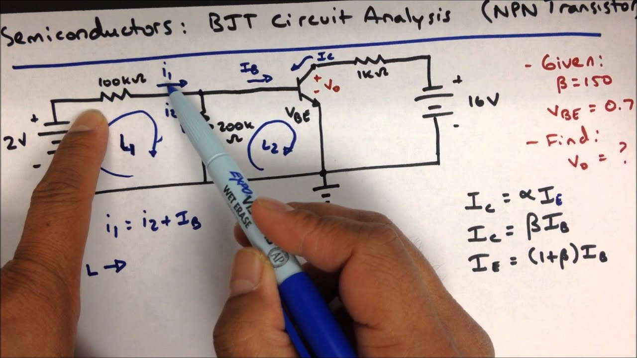 Bjt Semiconductor Circuit Analysis Transistor Practice Problem Youtube Npn