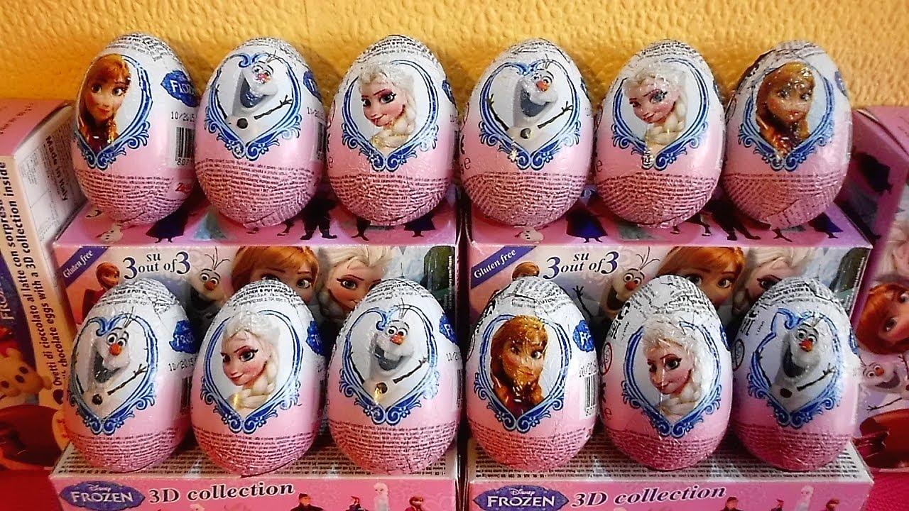 24 Surprise Eggs Disney Frozen 3 D Toys 2014 Unboxing