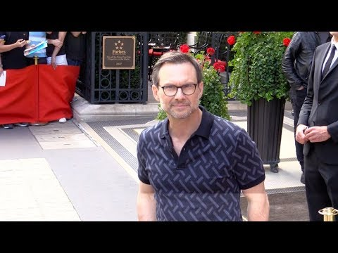 Christian Slater coming out of his hotel in Paris