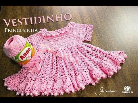 3941da5bb943 Vestidinho de Crochê Princesinha - Parte 1 - Anne - Professora Simone