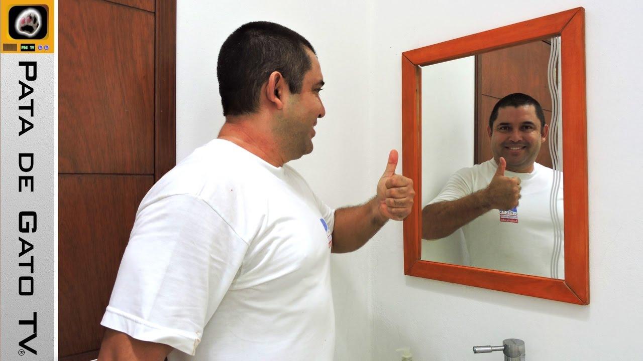 Haciendo un marco para espejo / Making a mirror frame for toilet ...