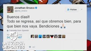 """El misterioso mensaje de Jonathan Orozco en sus redes sociales: """"Todo se regresa"""""""