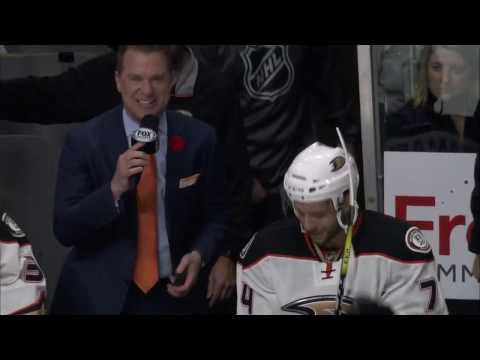 Ducks forward Joseph Cramarossa after his first NHL goal