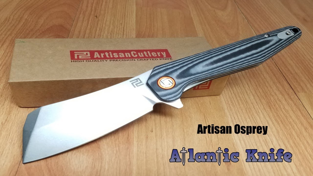 ATZ1803PBKF Artisan Osprey D2 Plain Blade Black G-10 Handle Clip Linerlock