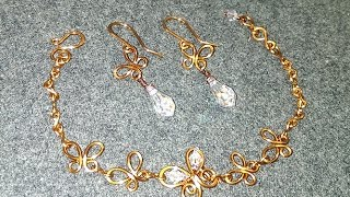 wire butterfly bracelet and earing  - How to make handmade jewelry 9