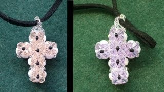 Double sided Cross pendant made with beading tutorial