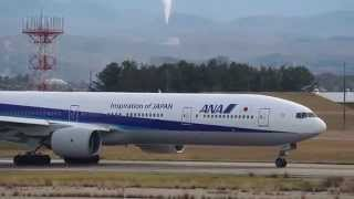 珍しい!なが~い機体 全日空 Boeing 777-381が飛来 JA757A ANA B777-381 Komatsu airport Takeoff thumbnail