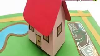 AMAZING 3D HOUSE POP UP CARD -  DIY 3D house Pop up cards tutorial
