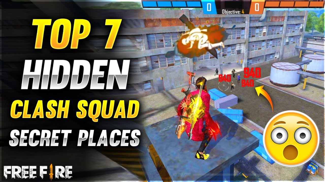 Top 7 Hidden Clash Squad Secret Places For Rank Pushing - Grandmaster In One Day - Garena Free Fire