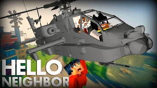 Realistic Minecraft: Helicopter over Hello Neighbor House! (Minecraft Roleplay)
