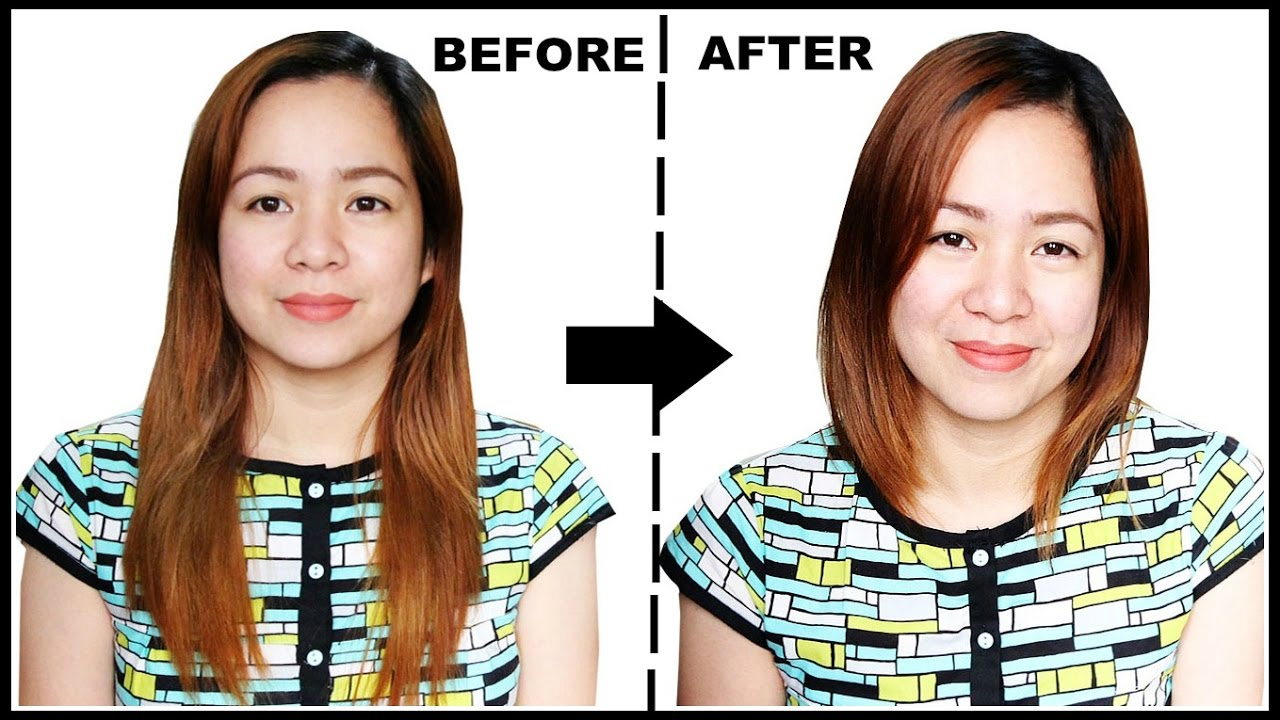 TRYING HAIR HACK- FROM LONG HAIR TO SHORT HAIR WITHOUT ...