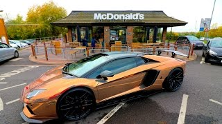 MCDONALDS DRIVE THRU WITH A ROSE GOLD AVENTADOR!