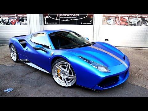 Ferrari 488 Spider in Satin Chrome Blue with Forgiato wheels