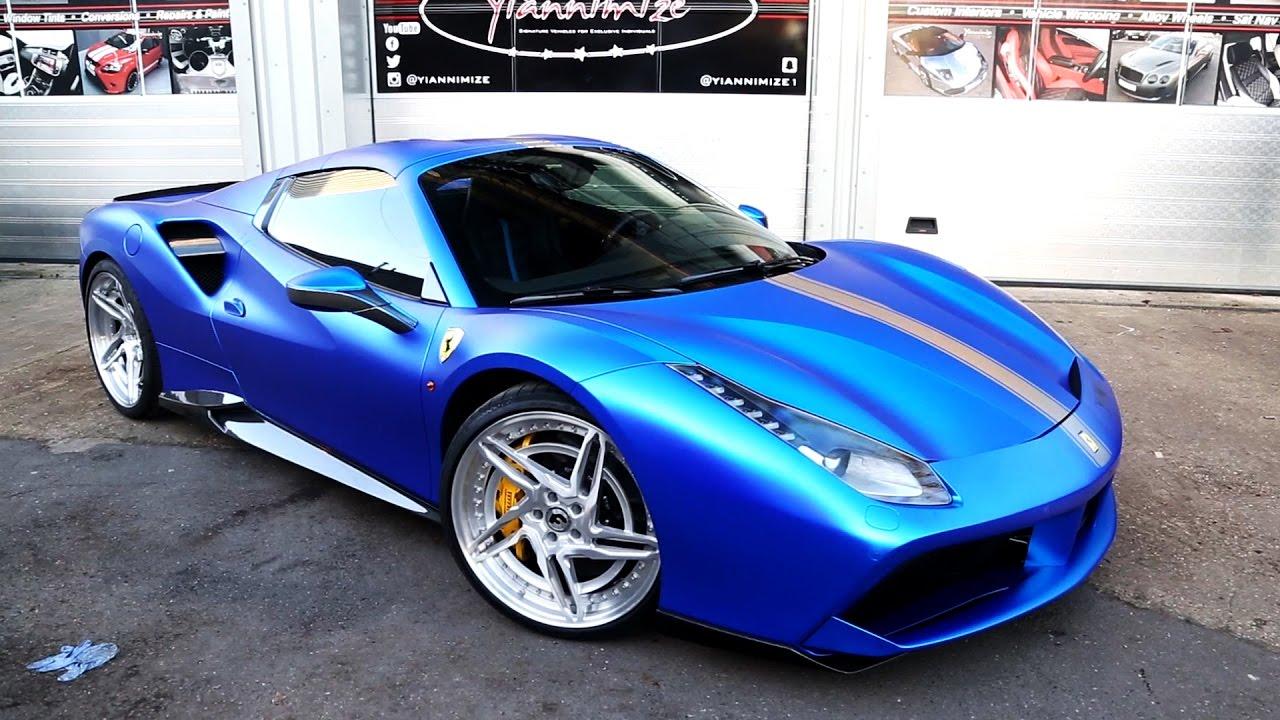 Ferrari 488 Spider In Satin Chrome Blue With Forgiato