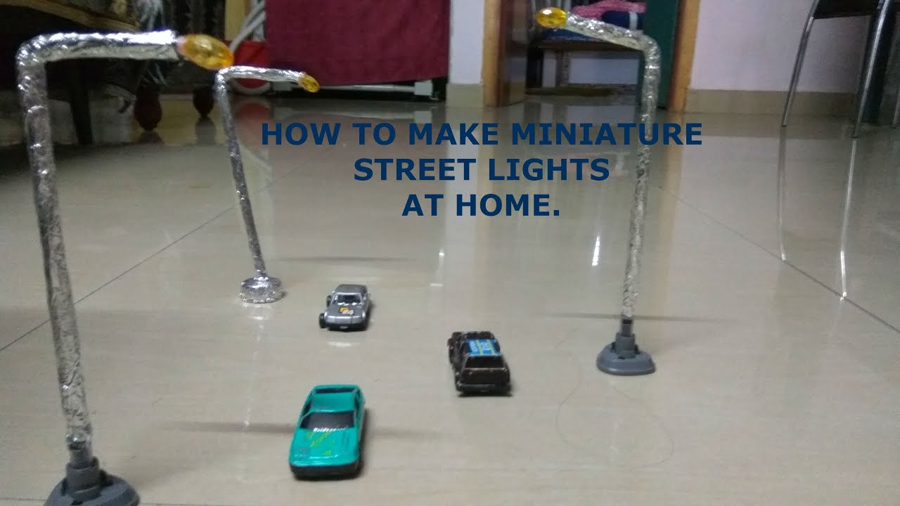 HOW TO MAKE MINIATURE STREET LIGHTS  ROAD SIDE LIGHTS  LAMP POST  JANMASHTAMI SPECIAL  YouTube